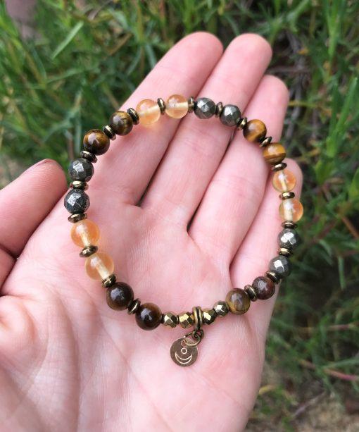 Amuleto abundancia ojo de tigre citrino pirita
